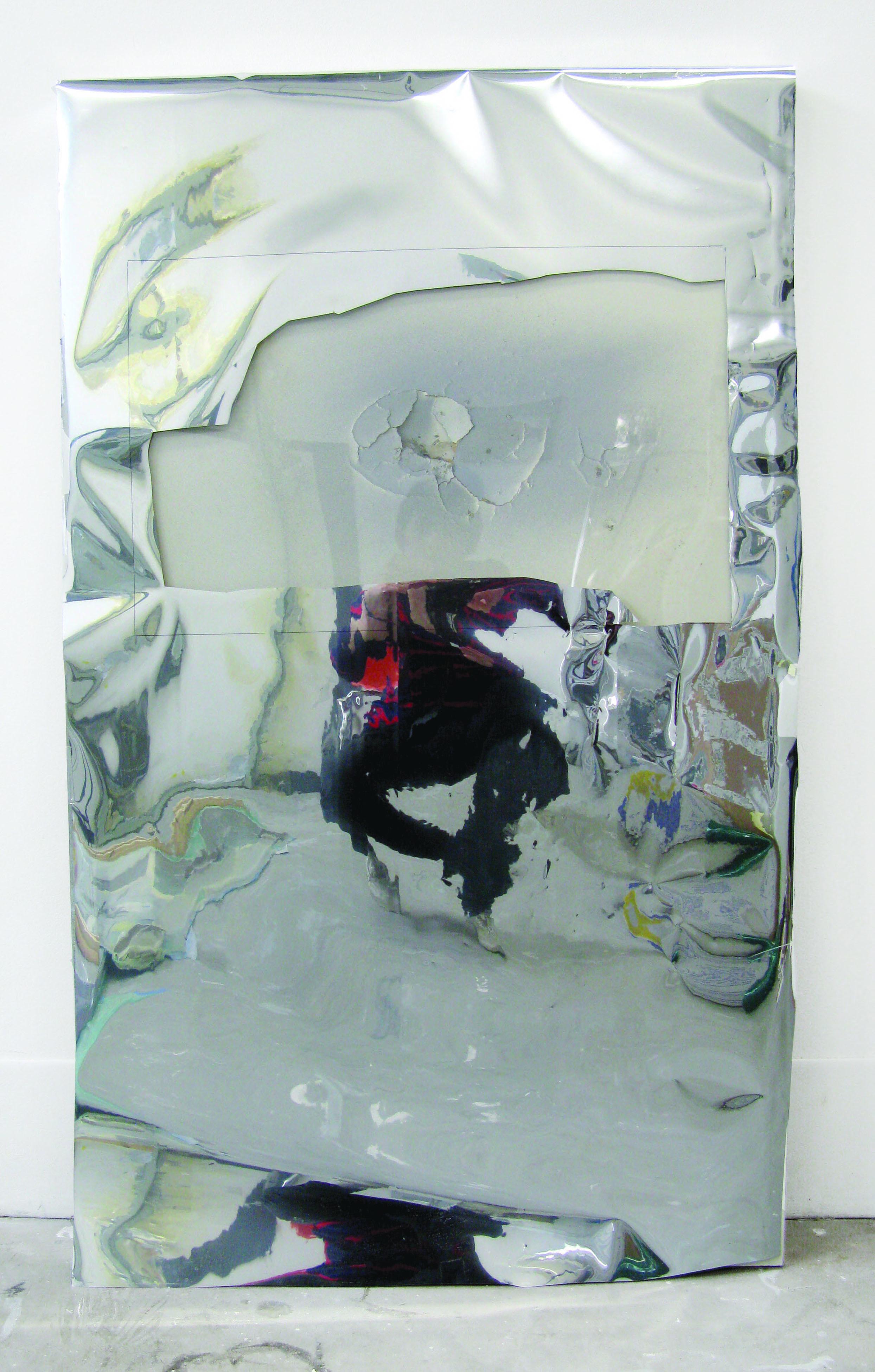 "Puncture , 2011  mdf, mylar, spray paint, plexi glas  24 x 39"""