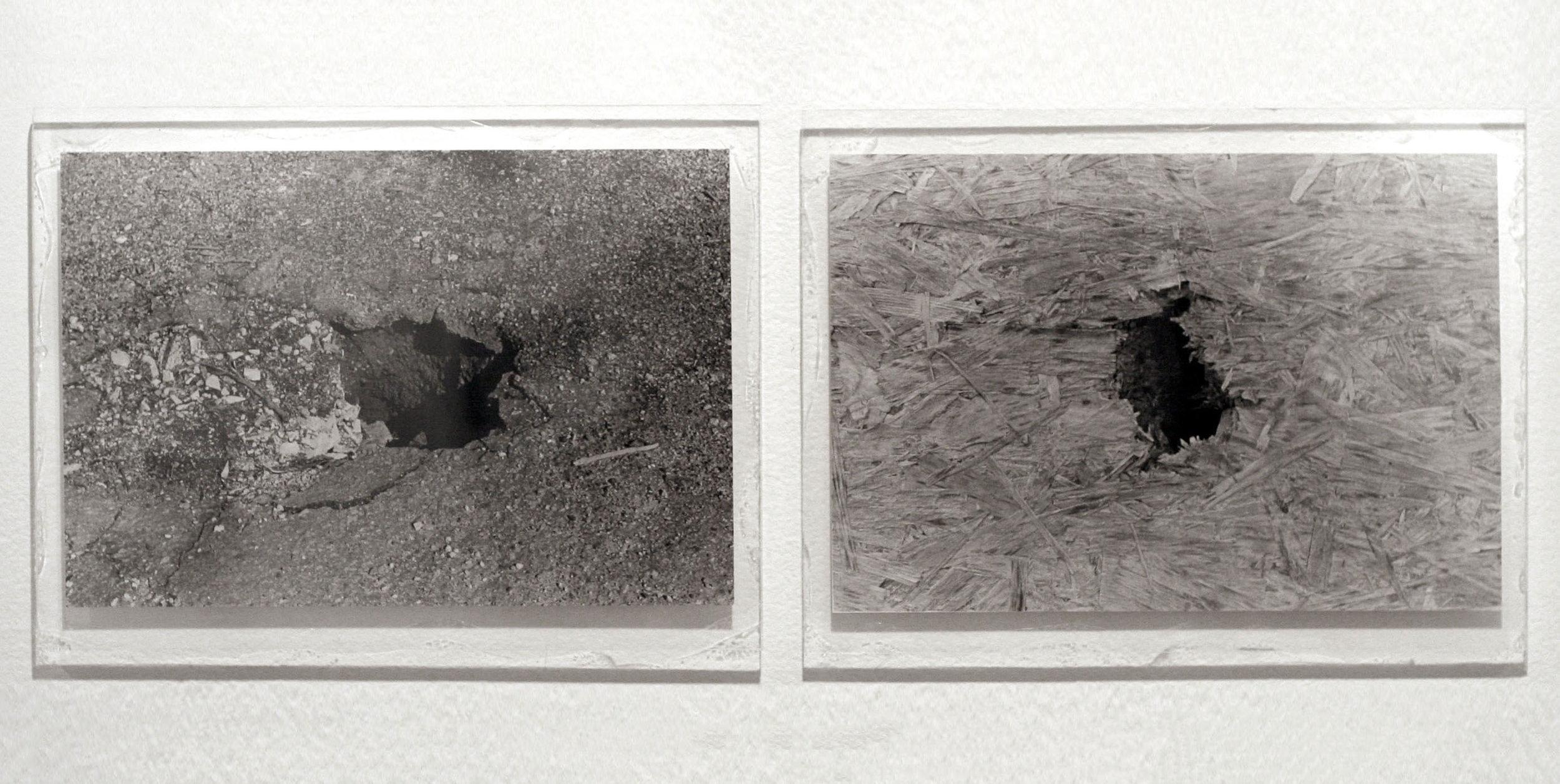"Holes, 2011  silver gelatin prints, plexi glas  24 x 9"""