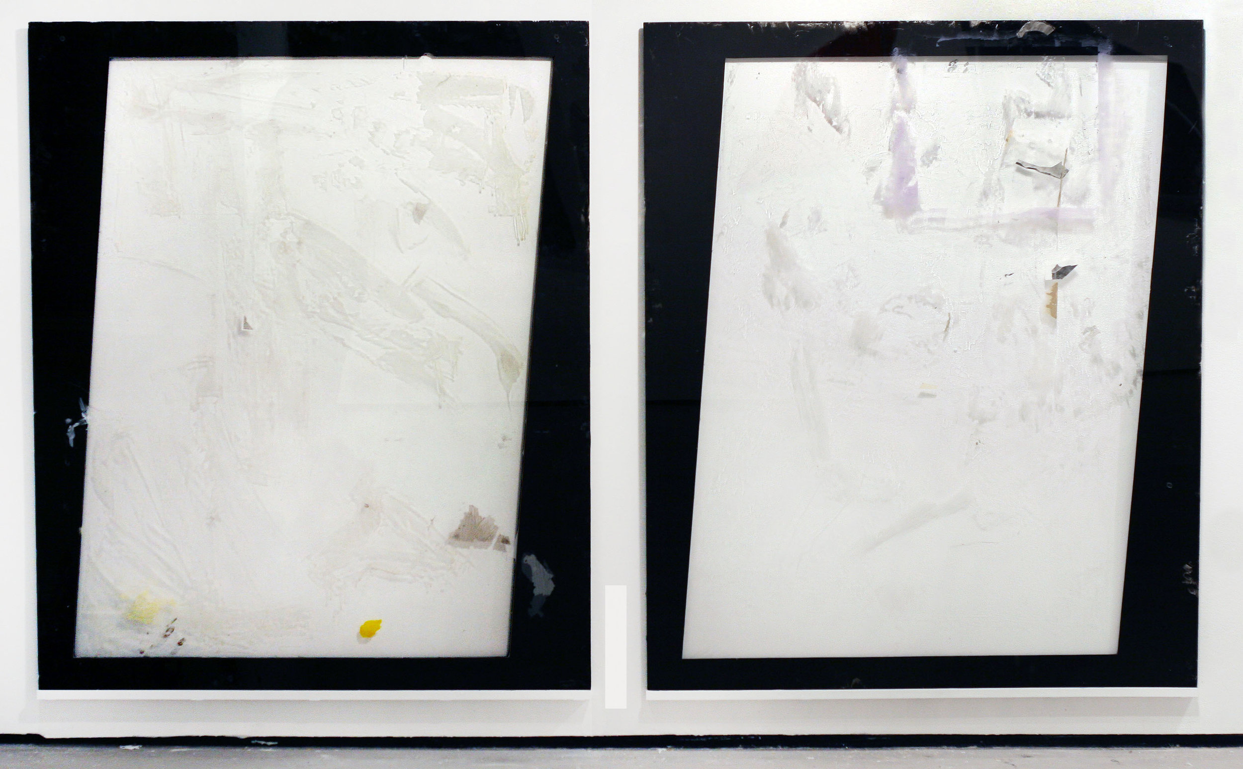 "Untitled, 2011  oil, plexi glas, silver gelatin prints, resin  96 x 60"""