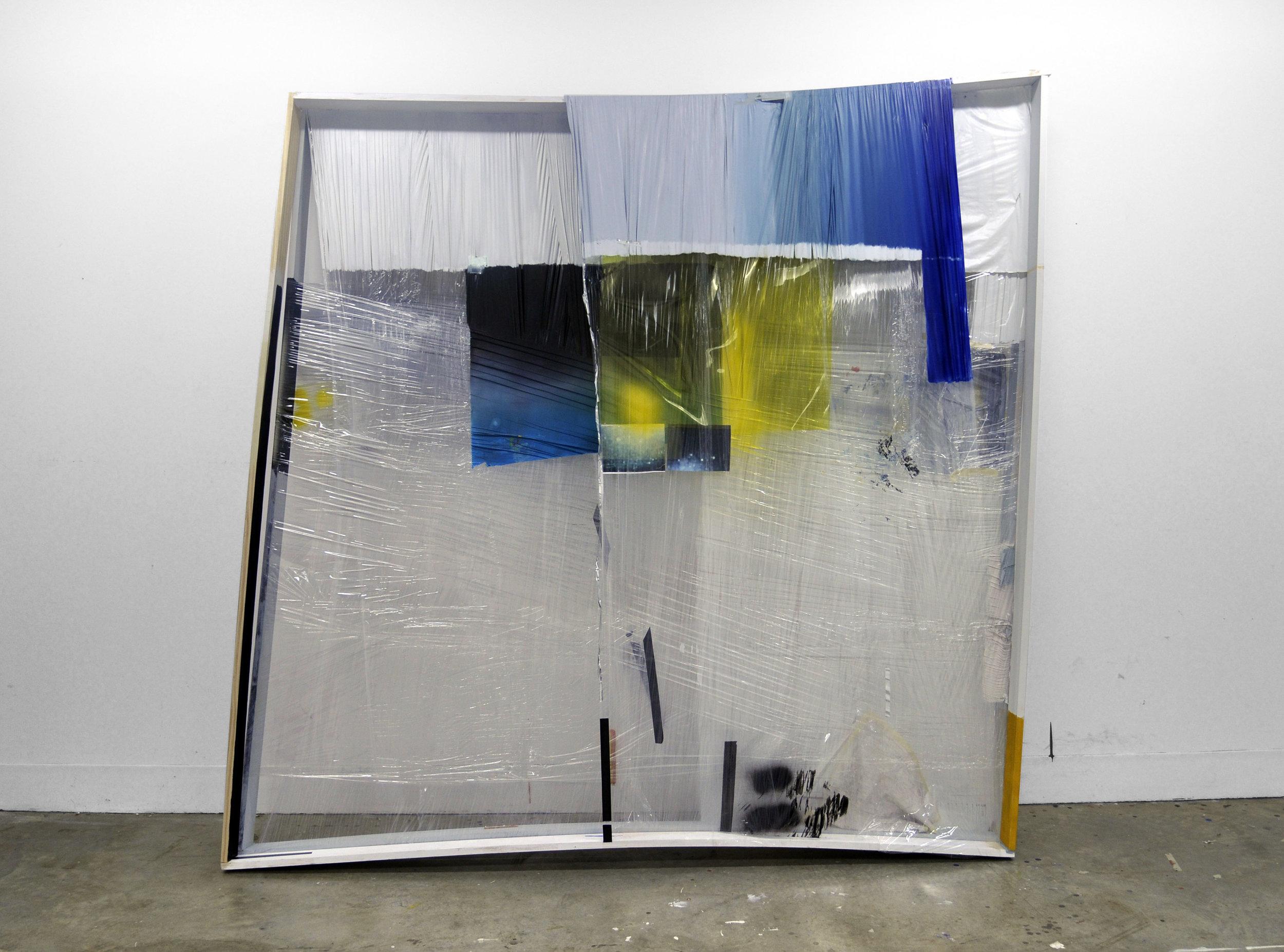 """Untitled , 2010  oil, plastic wrap, wood, tape, digital prints  96 x 96"""""""