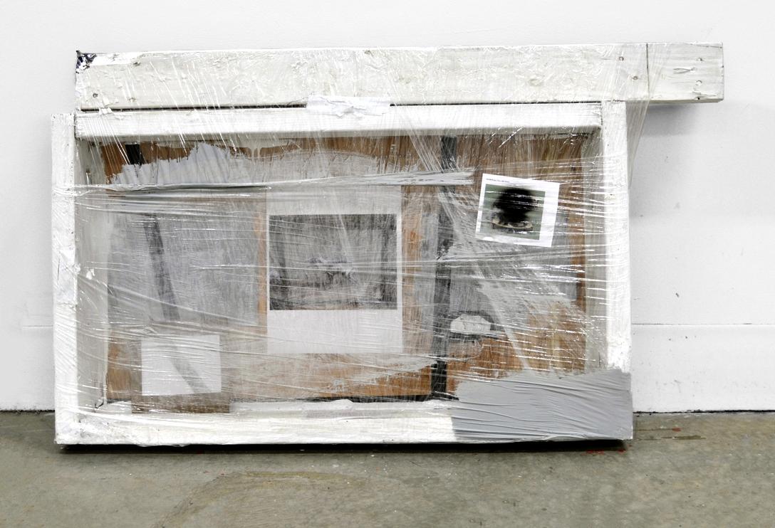 "Untitled, 2010  wood, acrylic, digital prints, tape, plastic wrap  36 x 26"""
