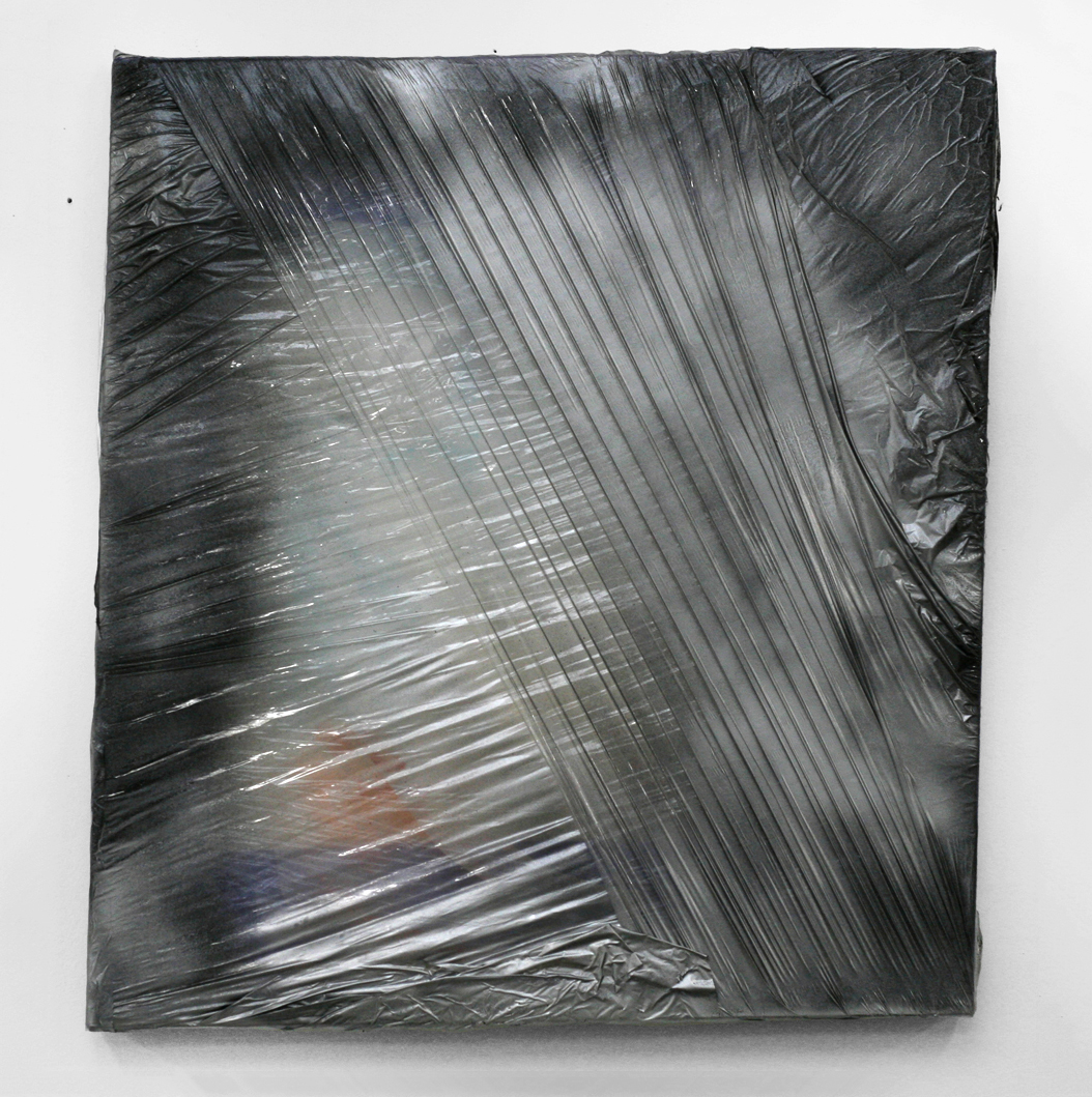 Untitled, 2011  wood, plastic wrap, spray paint, silicone  22 x 24""