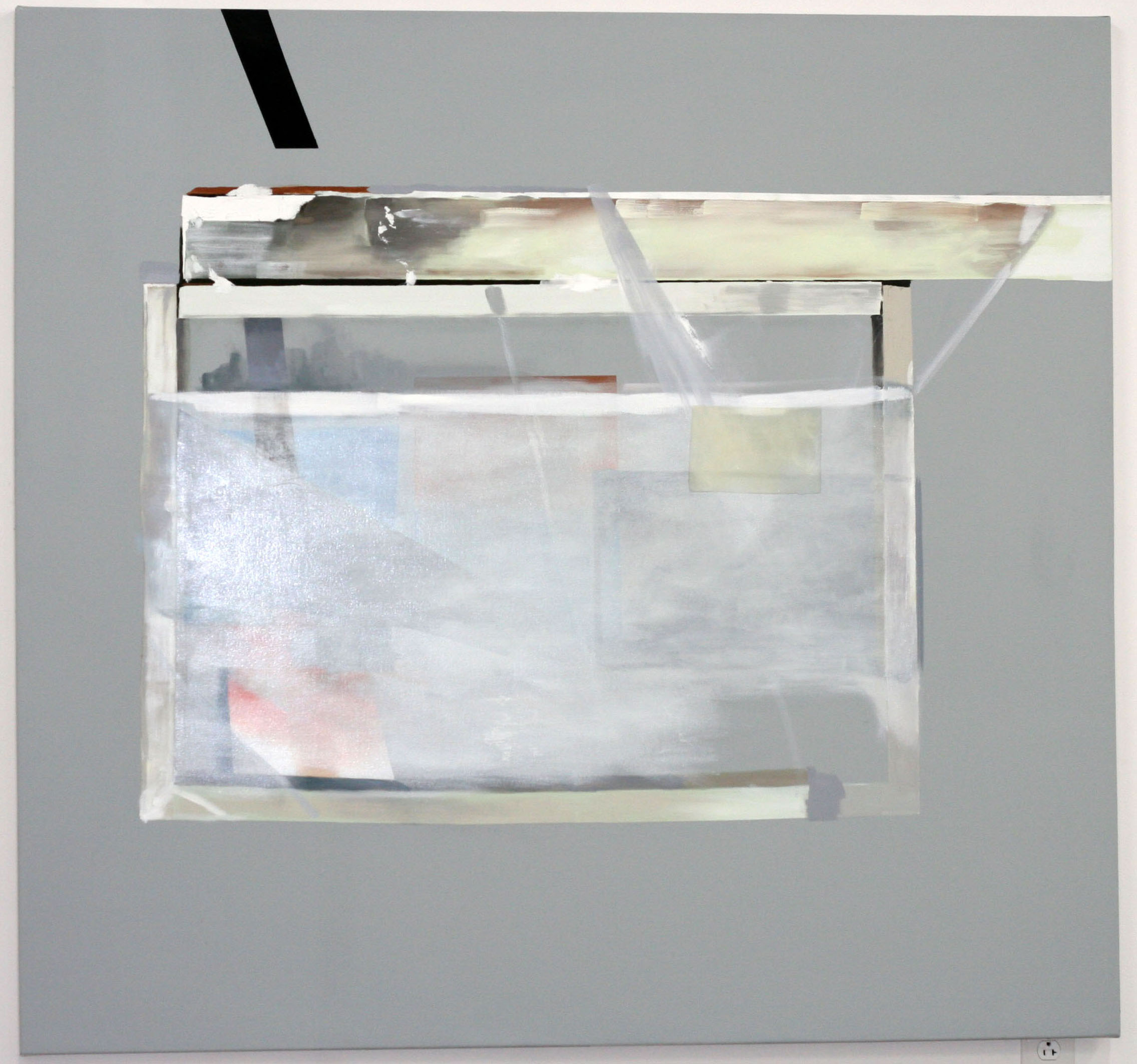 Framing a grey and white object , 2009  oil on canvas  62 x 58""