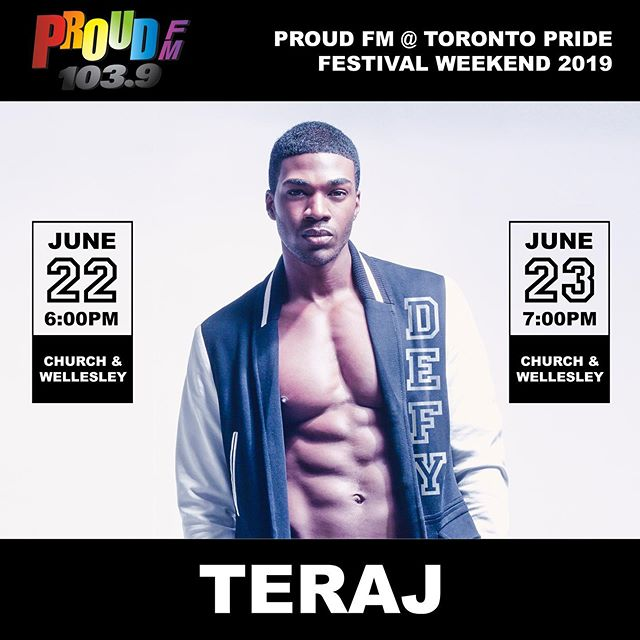 "Do you guys remember my Toronto #Pride post from last year when I shared the mantra ""Say it out loud, put it into the universe and work to make it happen""? I wrote that it was a major goal of mine to one day perform during Toronto Pride and I'm so excited and grateful that it's happening this weekend with @proudfmtoronto! If you're in Toronto, come see me perform this Saturday and Sunday at the Proud FM Stage at Church & Wellesley. I can't wait to sing songs from my album and share my story. It's gonna be a good time! What songs do you think I'm going to perform? @proudfm ⠀⠀⠀⠀⠀⠀⠀⠀⠀⠀⠀⠀ ⠀⠀⠀⠀⠀⠀⠀⠀⠀⠀⠀⠀ ⠀⠀⠀⠀⠀⠀⠀⠀⠀⠀⠀⠀ #DEFY #TorontoPride #ProudFM #Teraj #PerformingLive #DreamChaser #Pop #RnB #Singer #Songwriter #RecordingArtist #SupportGreatMusic #Model #MaleModel #BlackModel #BlackMaleModel"
