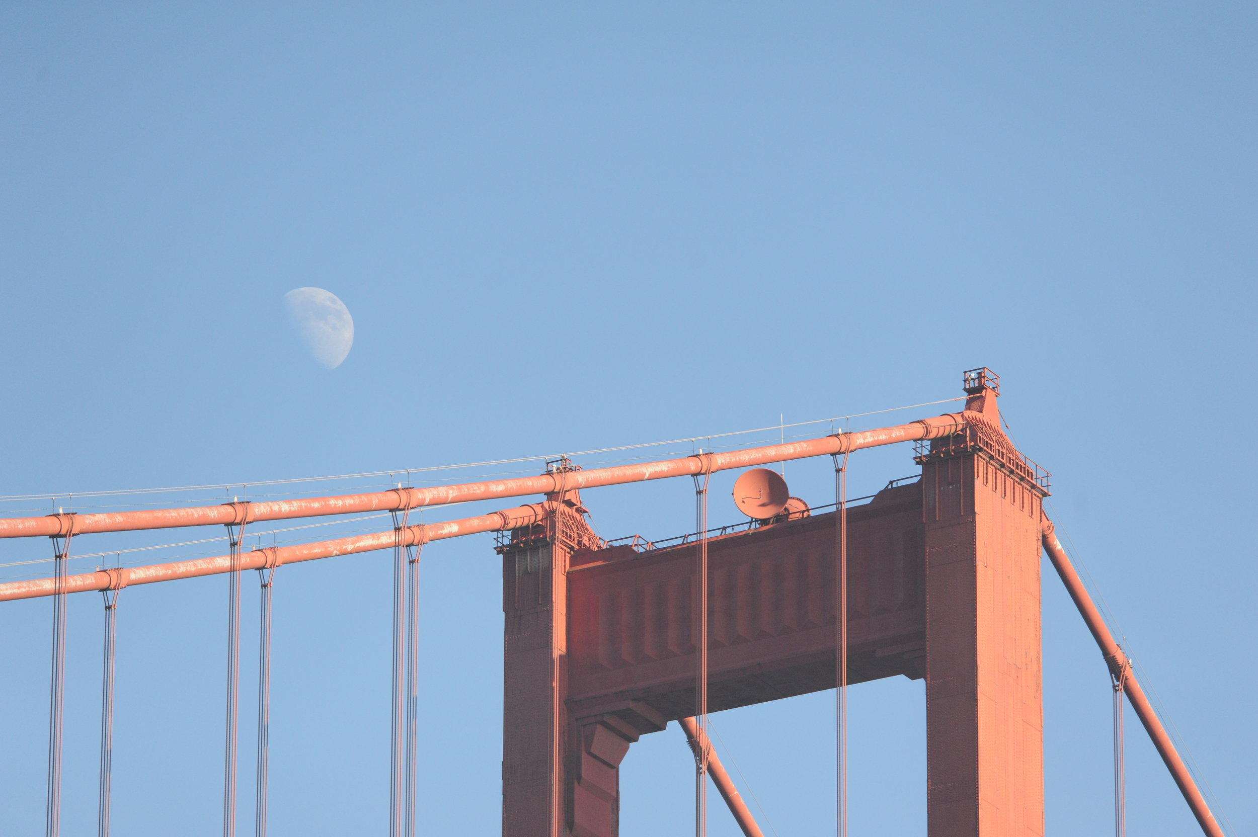 The Golden Gate Bridge and the moon.