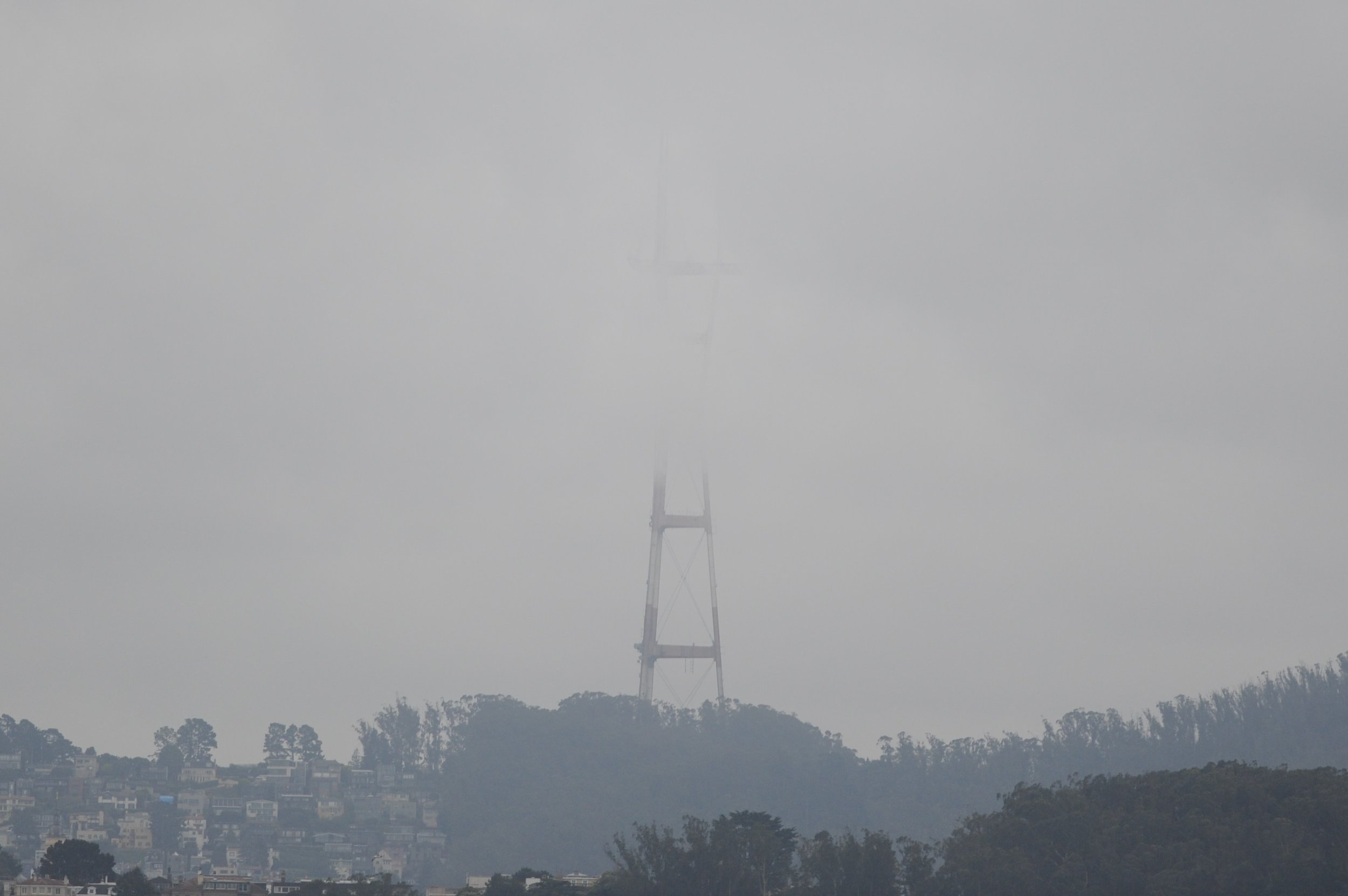 Sutro tower in the fog.