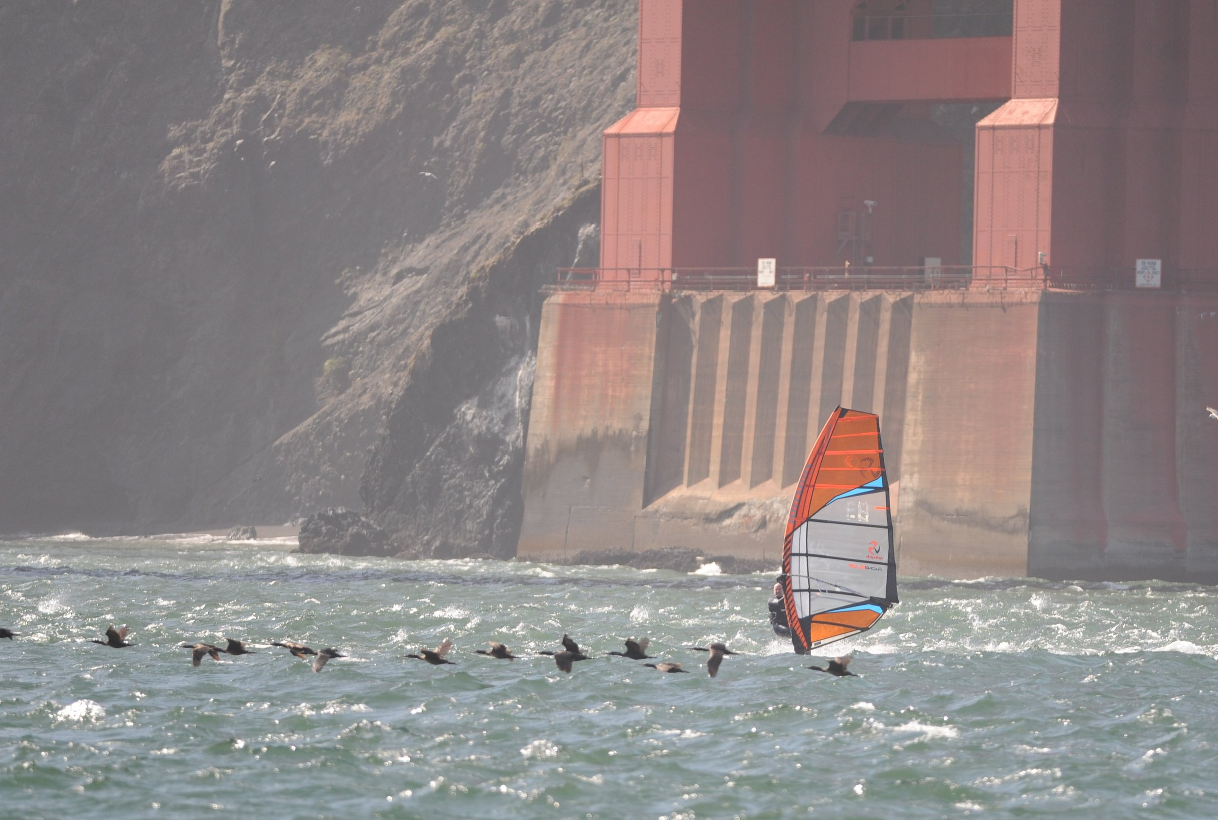 Windsurfer underneath the Golden Gate Bridge.