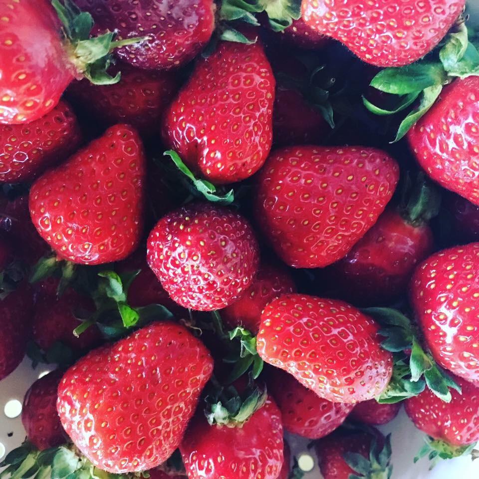 Organic strawberries at the Bartlett Street Farmers' Market. Photo by by Dayamudra Ann Dennehy.