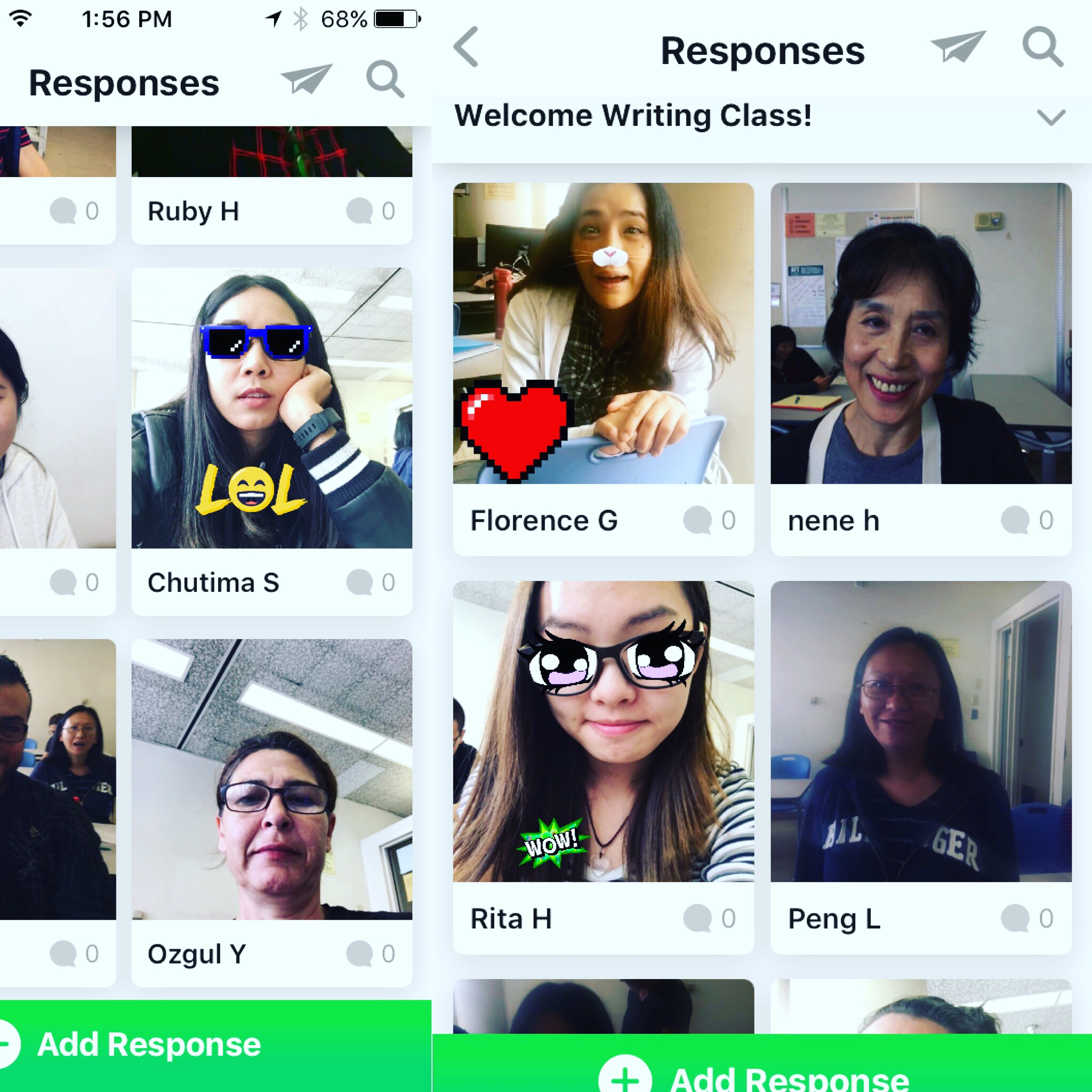 The Flipgrid interface for mobile phones.