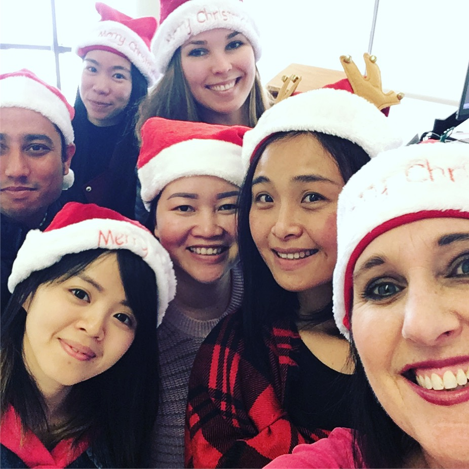 Selfie with my global mix of students, caroling in December. Photo by me.