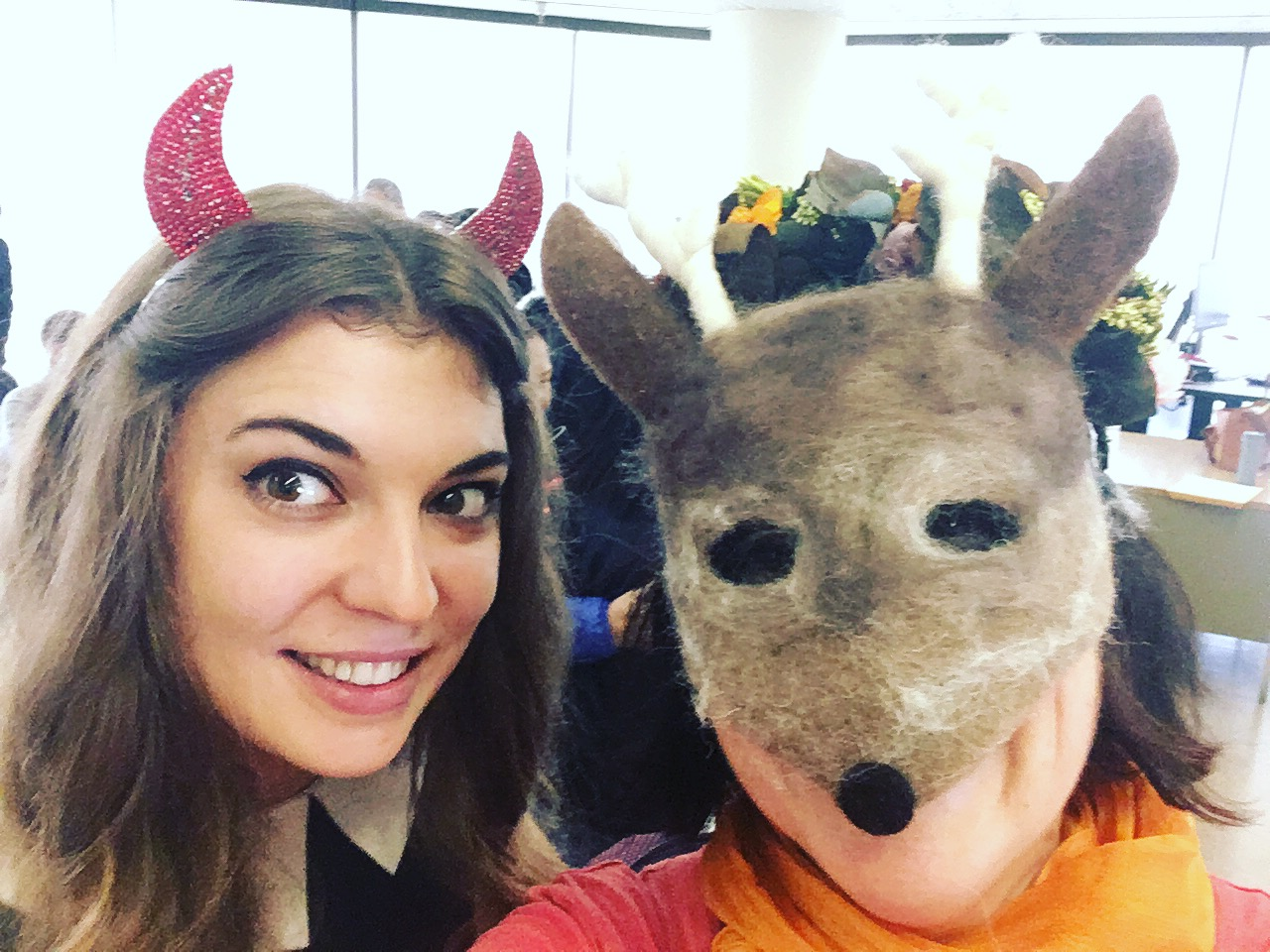 Selfie with my student Ksenia on Halloween last year.