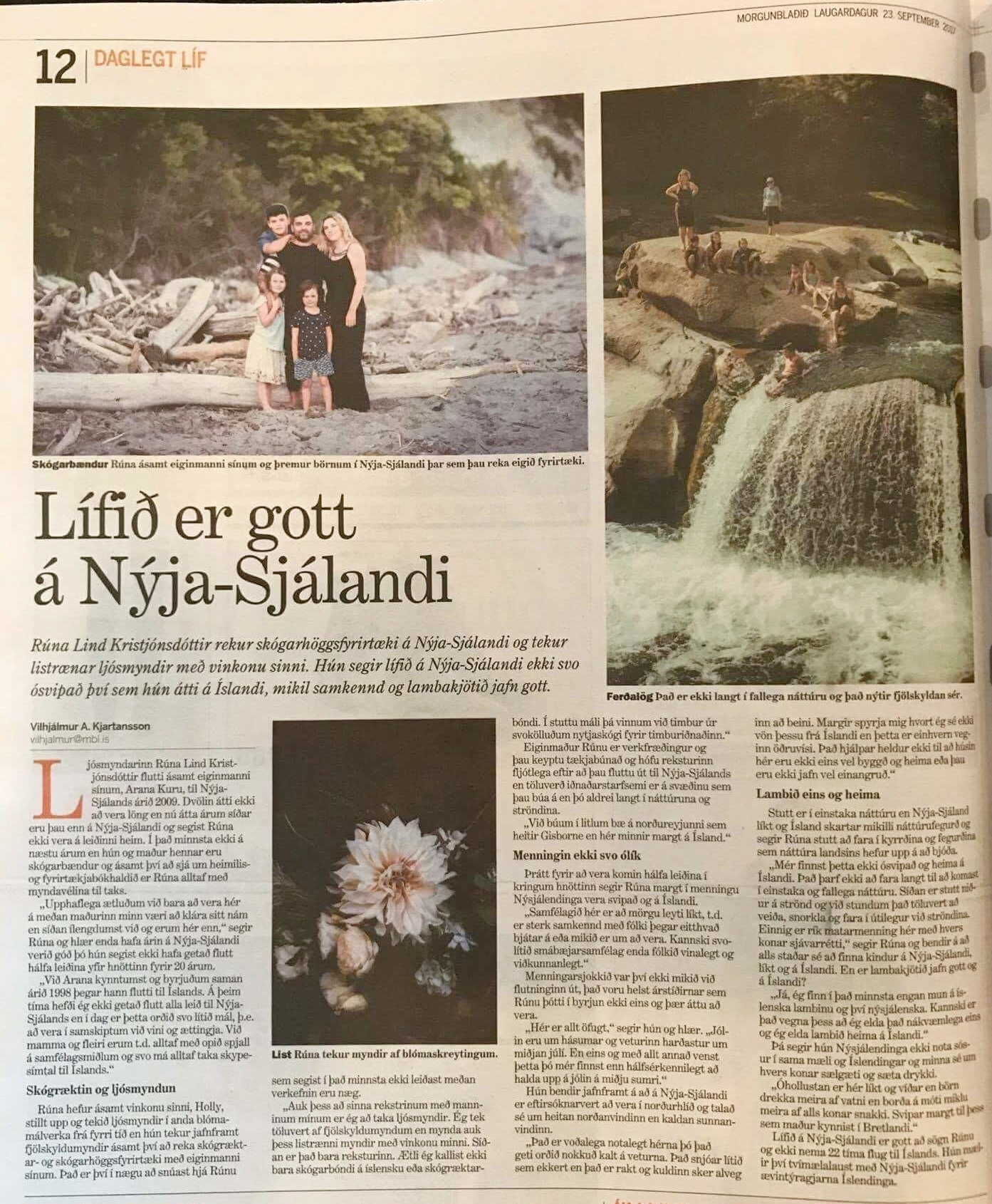 Runa was feature in an Icelandic Newspaper in September 2017 about her life in New Zealand, Click the image to see online article.