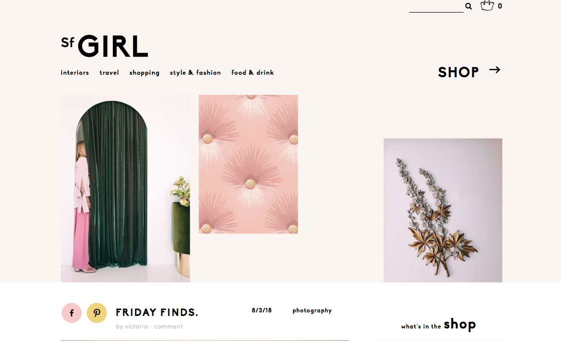 Featured in Friday Finds, on the beautiful Sf Girl Blog. Click  here  for full post
