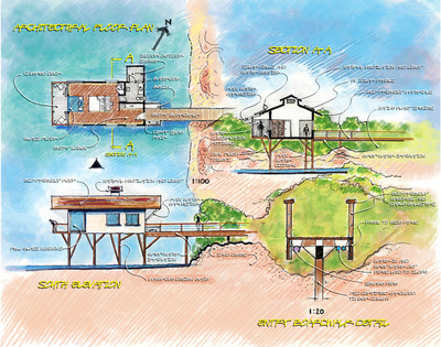 Setu Ecolodge's over-water villas on an island in northern Sri Lanka uses many eco-friendly planning and design techniques.