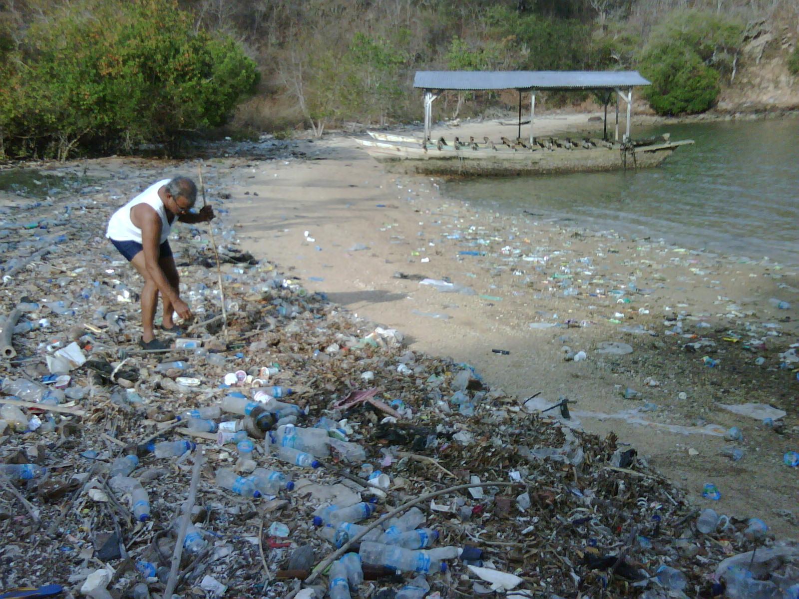Plastics litter Flores' coastline. Photo courtesy of Stefan Rafael.