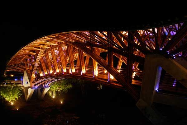 Bamboo Bridge at Crosswaters Ecolodge, China.