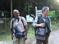 Expert birders Dev (left) and Chris pause for a chat and a laugh.