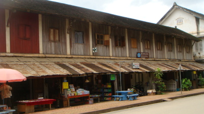 Old-styled timber front shop houses.
