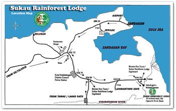 Map of Sukau Rainforest Lodge
