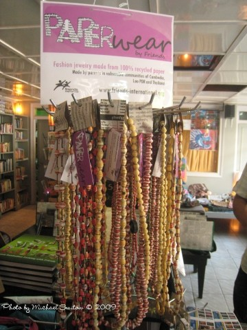 Friends' retail store is at 215 Street 13 in Phnom Penh. Many products – like these necklaces – are made from recycled items.