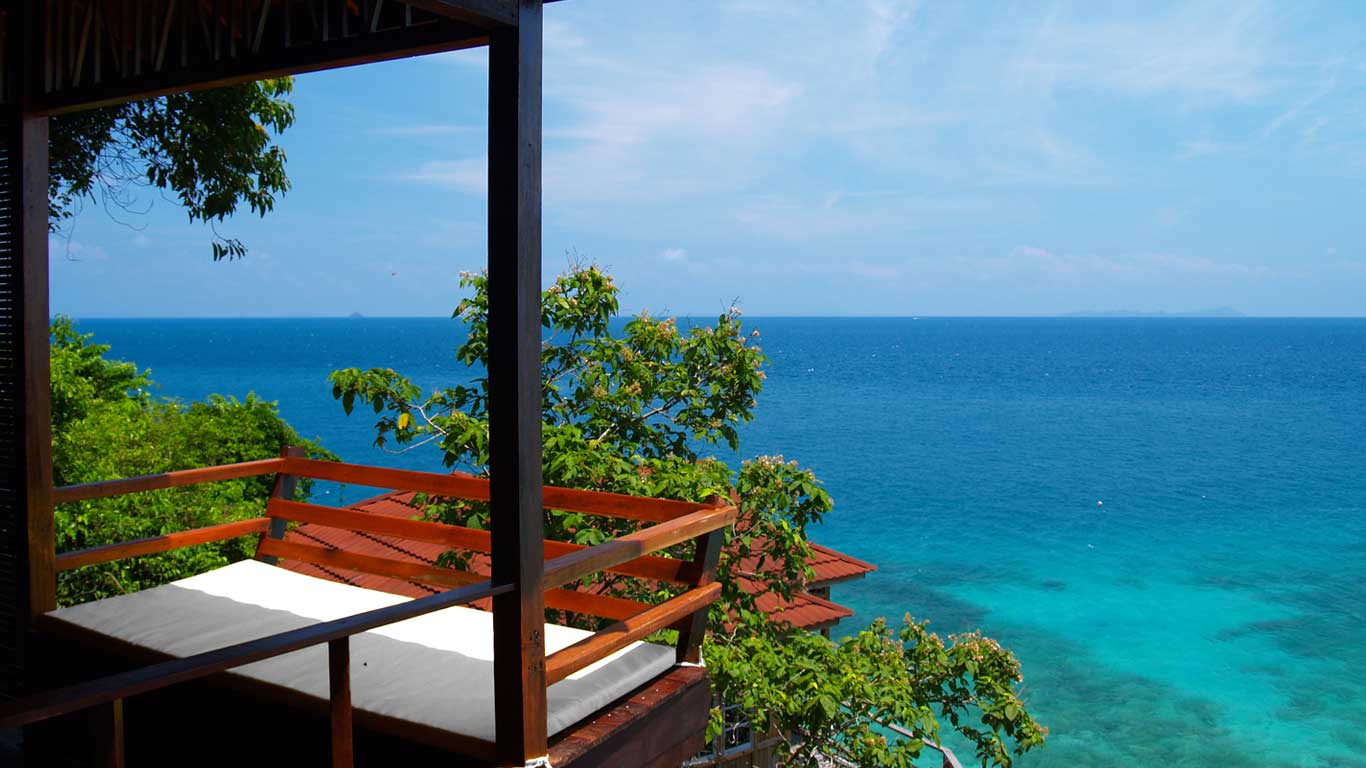 Japamala Resort on Tioman Island offers panoramic views of the South China Sea and provides luxurious chalets.
