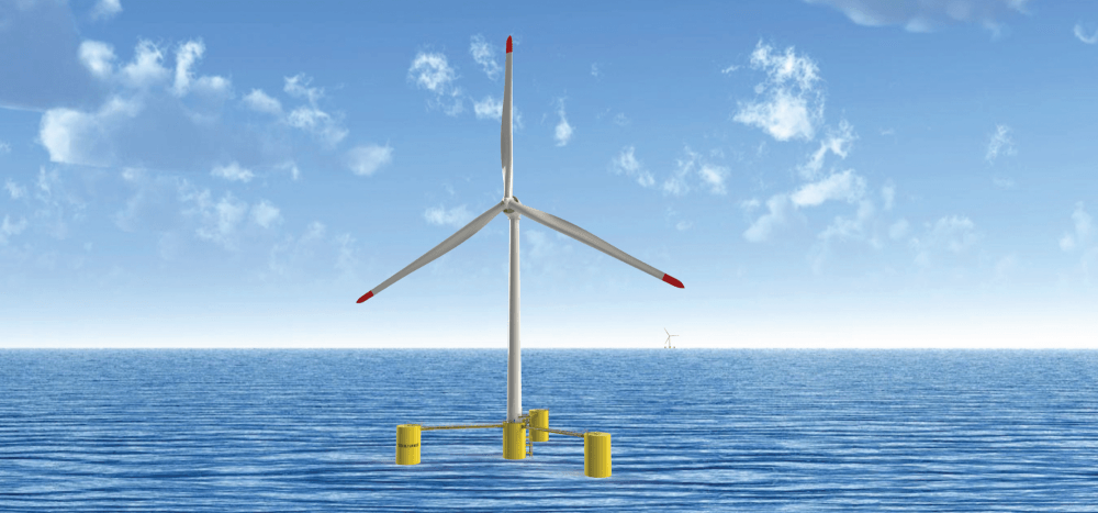 Each 250m high, 12,000 tonne turbine uses three mooring lines attached firmly to anchors on the seabed, yet floats freely.