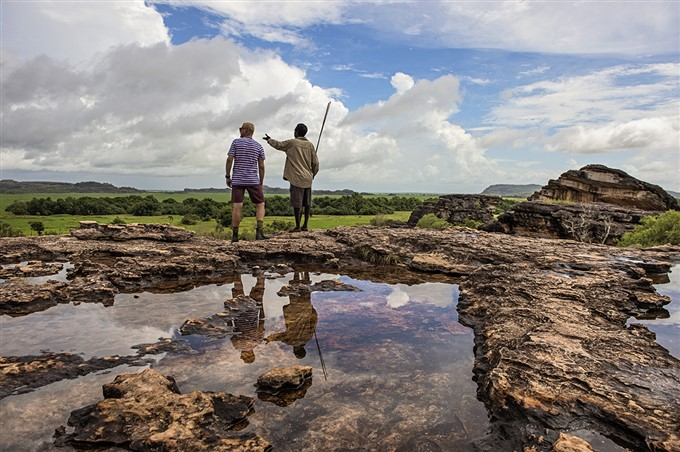 Bamurru Plains Resort offers a chance to learn about the escarpment landscapes and ancient rock art at Ubirr in Kakadu. Photo courtesy of Shaana McNaught.