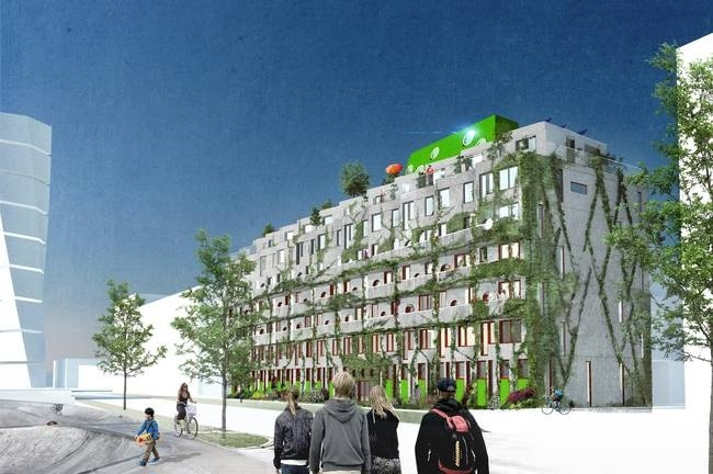 Cykelhuset reimagines the role an apartment building can play ... in shifting to a more sustainable model. Courtesy of Hauschild + Siegel.
