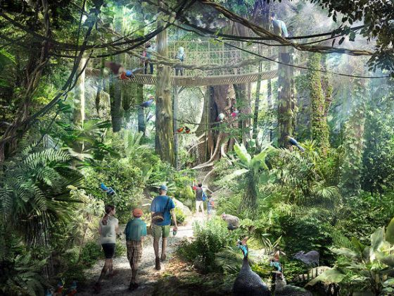 © Image: Mandai Park Holdings - Artist's impression of the rainforest walk at Mandai's integrated nature and wildlife hub.