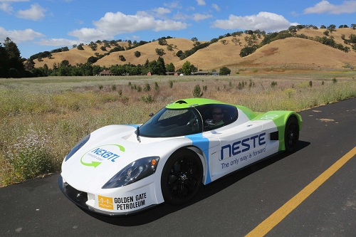 In 2015, this Neste powered car attempted to cross America on one tank of recycled biofuel. Courtesy Neste.