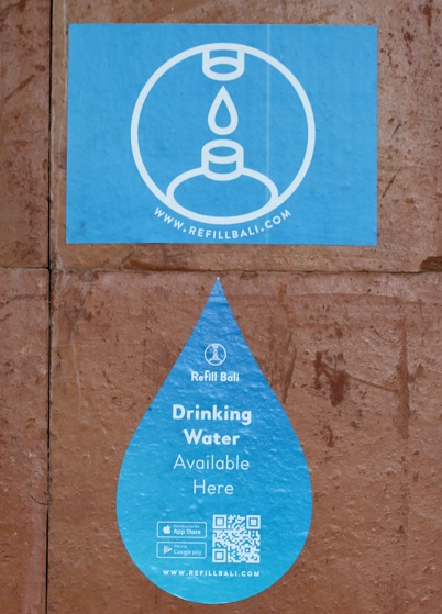 A sign with this RefillMyBottle logo tells tourists and pedestrians where treated drinking water is available.