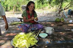 Weaving palm leaves into shapes is a traditional Moken skill. Photo courtesy Andaman Discoveries.