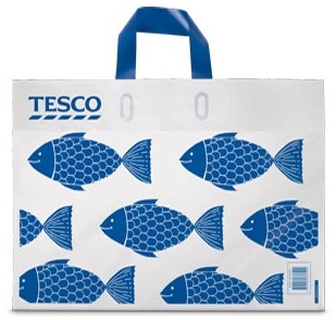 The plastic bag with a barcode. Discounts for recycling shoppers! Courtesy Tesco.
