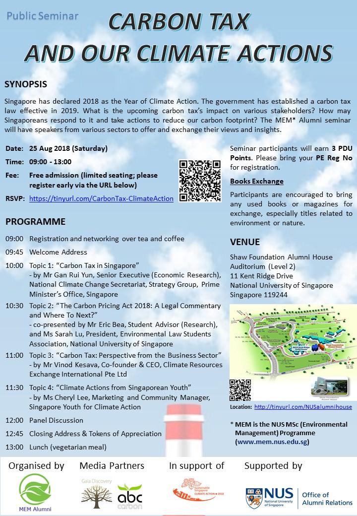 Carbon Tax Seminar 2018 agenda. Organised by MEM Alumni of NUS.