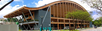 The Wave Sport Hall is already an iconic timber structure at NTU. Courtesy Binderholz Group