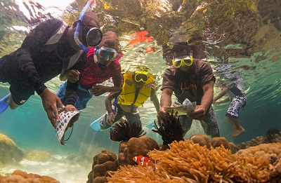 MEEP students on a reef snorkelling field excursion. Photo courtesy Stefan Andrews.