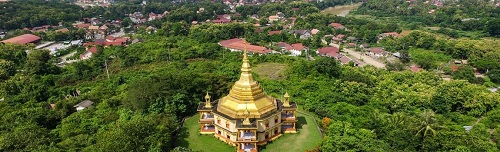 The river banks are lined with stupas. Courtesy Lao Tourism.