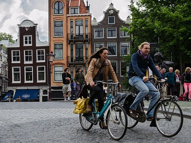 Amsterdam is famous for its cycling culture. Courtesy Wikipedia.
