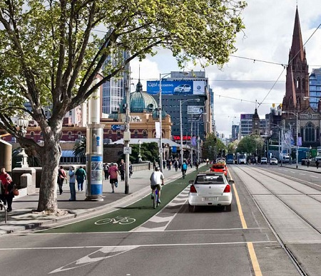 Retro-fitting safe cycle lanes is key to rider uptake. Courtesy City of Melbourne.