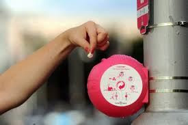GumDrop bins can be fixed to poles or stuck to walls anywhere. Courtesy GumDrop.