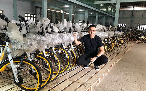 The first batch of ex-rideshare bikes ready to ship. Courtesy LessWalk.