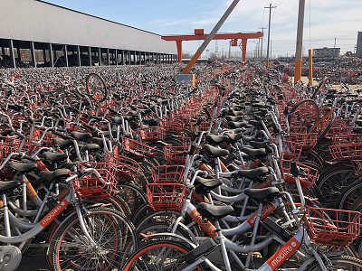 There are hundreds of ex-rental bike depots across Asia storing tens of thousands of reject or old bikes This is a bike graveyard in China. Courtesy LessWalk