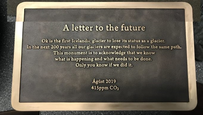 Okjökull plaque showing it as no longer classed as a glacier. Image courtesy Rice University.