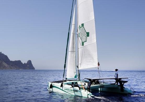 LBV is now using its catamarans to harvest plastic debris. Courtesy LBV.