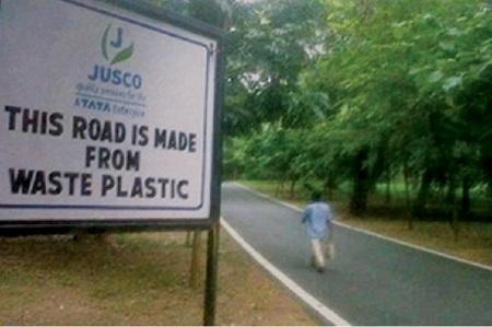 Ground up plastic waste helps pave rural roads. Courtesy Tata.