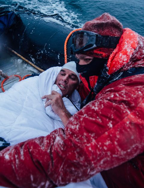 Lewis Pugh's team ensures his life isn't at risk after a death defying swim at The Bay of Whales, Antarctica.