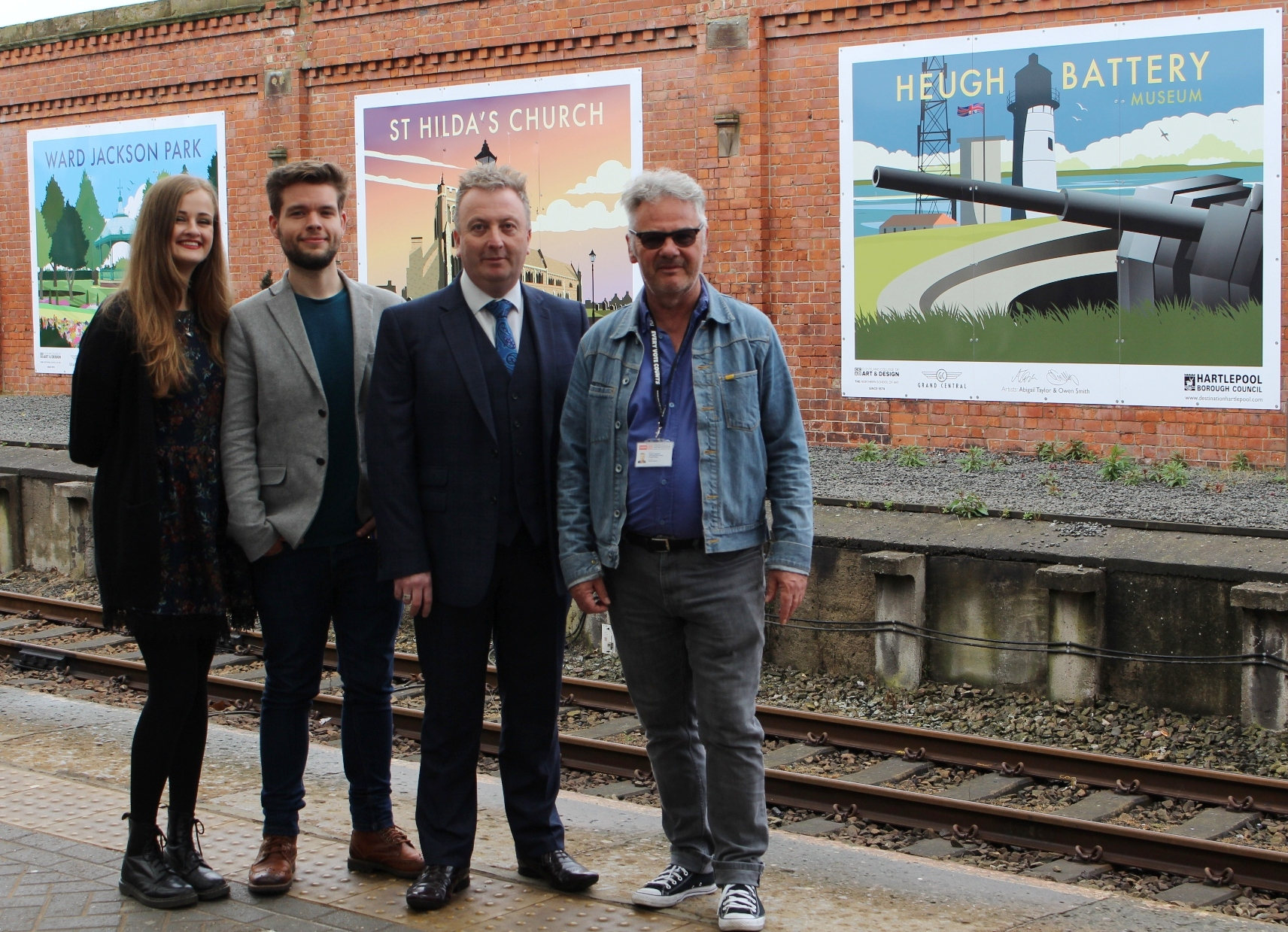 Pictured (L-R) are Abigail Taylor, Owen Smith, Councillor Christopher Akers-Belcher and Francis Fitzgerald, from Cleveland College of Art & Design.