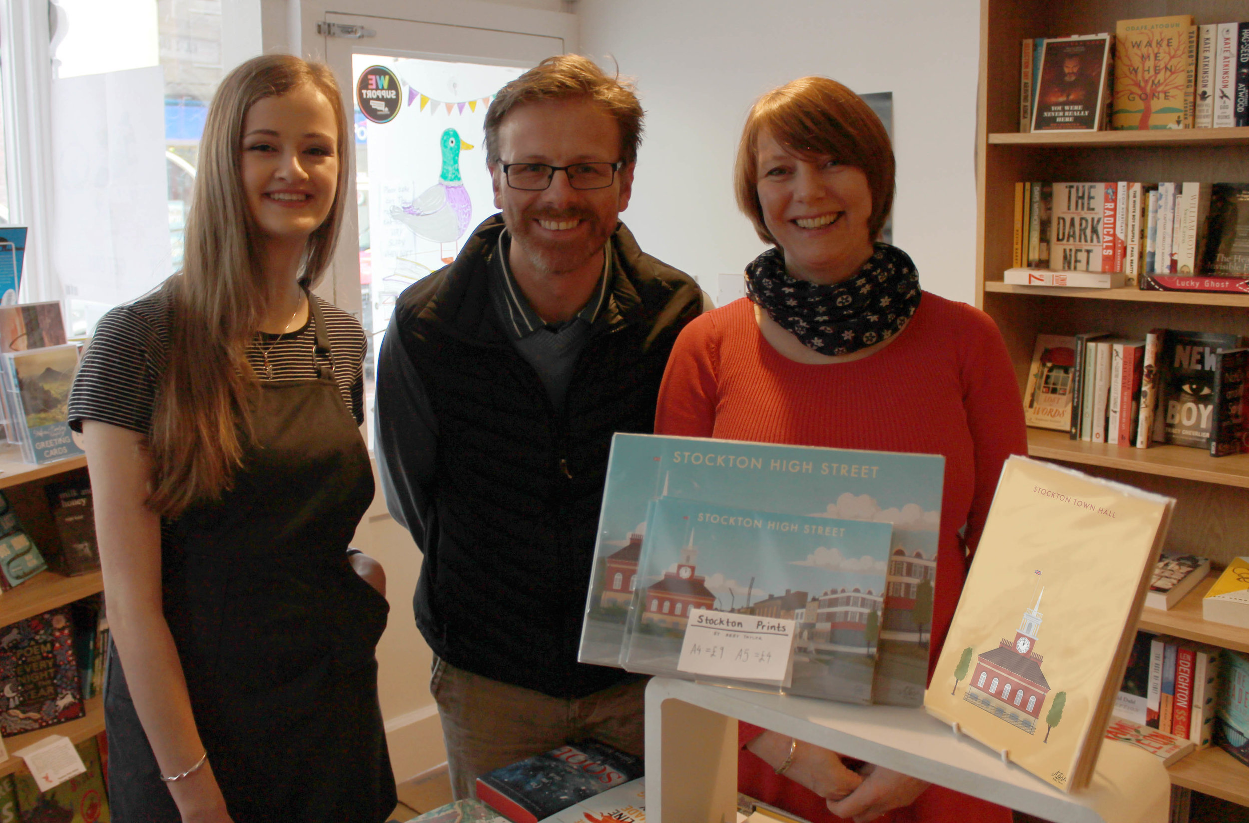 Abby Taylor with Richard Drake and Melanie Greenwood from Drake- The Bookshop in Stockton