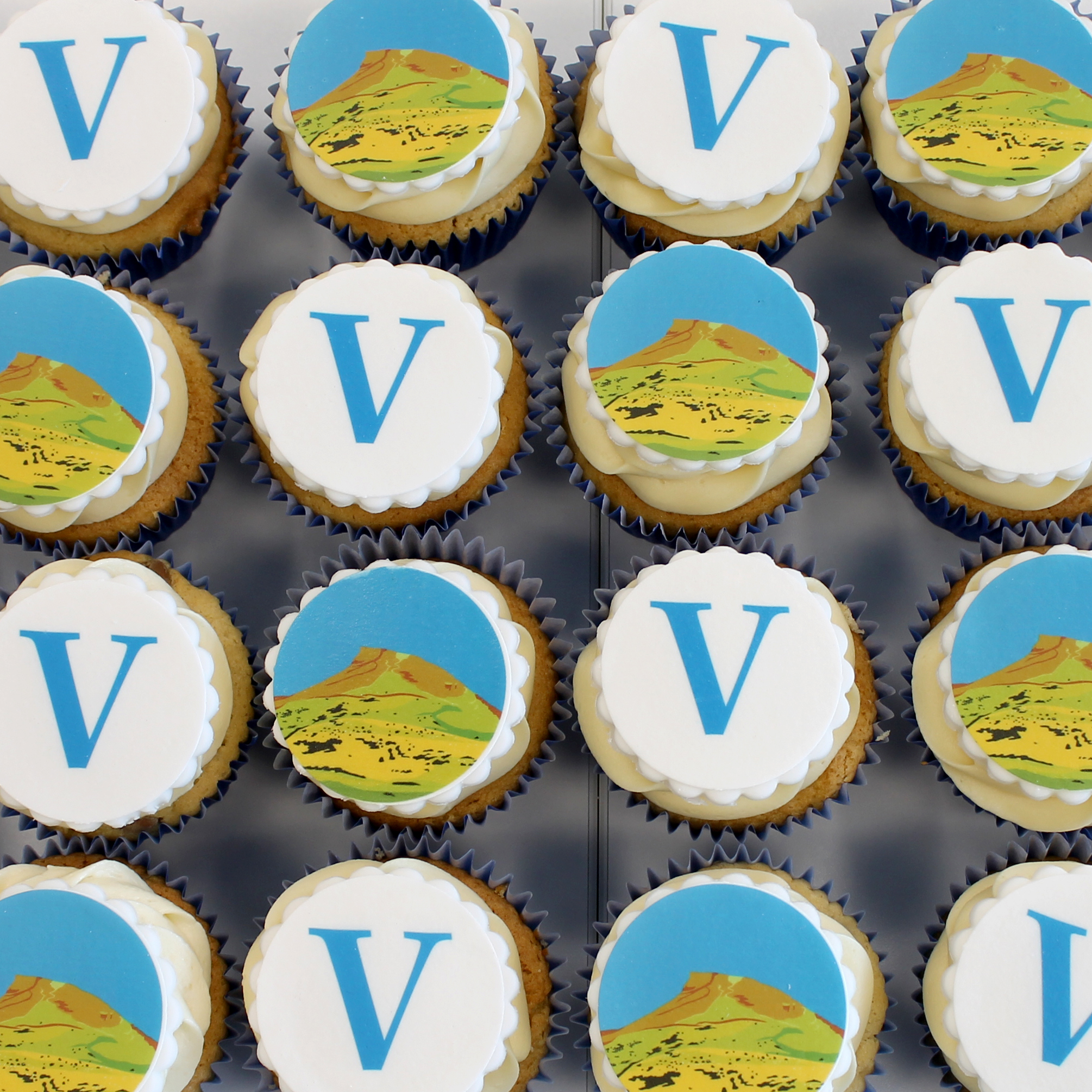 Vintage Chartered Financial Planners - Roseberry Topping Artwork by Abby Taylor - Cupcakes