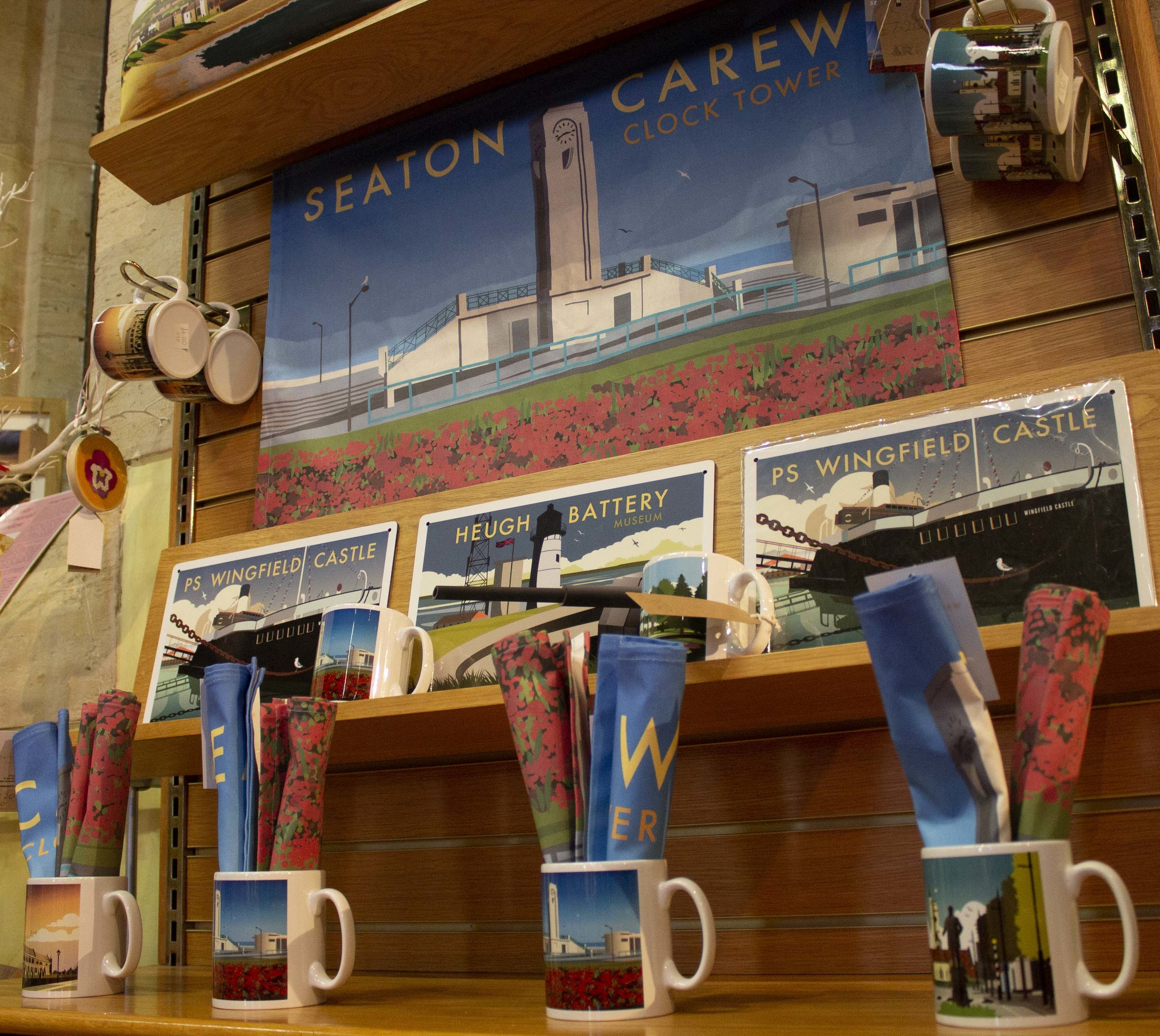 Featured Products: Seaton Carew Clock Tower tea towel, St Hilda's Church, Church Street, Seaton Carew Clock Tower and Ward Jackson Park mugs